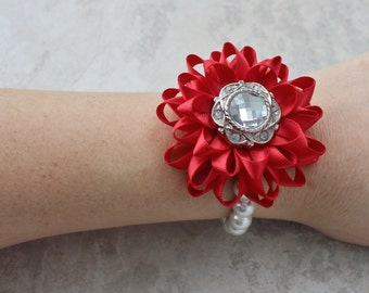 Red Bracelet, Red Corsage, Red Flower Corsage, Red Flower Bracelet, Red Wrist Flower, Red Bridesmaid Flowers, Silver and Red Wedding Crosage