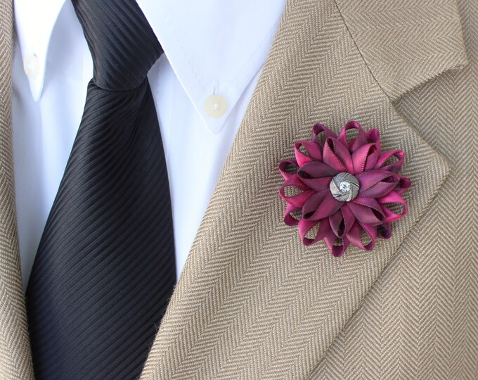 Lapel Flower for Men, Hot Pink Lapel Flower for Men, Mens Lapel Flower, Mens Fashion, Mens Gifts, Gift for Man, Boutonniere, Gift for Dad