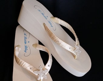 SALE - Ivory Wedge Bridal Flip Flops Sandals with Rhinestone Starfish for the Bride and her Bridesmaids