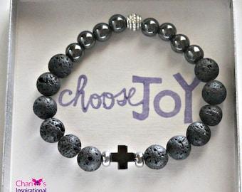 Choose Joy Men's Lava Rock and Hematite Cross Bracelet