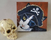 Pirate Cat Art Original Art Acrylic Painting on Canvas OOAK Skull & Crossbones