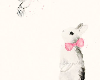 Bunny with a Hummingbird Girl Nursery Print, 8x10 / A4 Size with Cream Background, Shabby Chic Decor, Baby Shower Gift