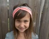 Coral and Gray Stripe Turban Headband, Twisted Headband, Children's Headband, Women's Headband, Baby Headband, Yoga Headband