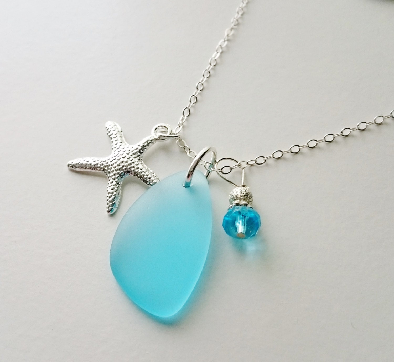 sea glass necklace sea glass jewelry blue sea by
