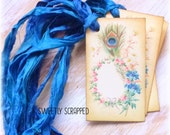 PEACOCK and Flowers Labels .... Vintage, Blue, Tags, Gift Wrap, Packaging