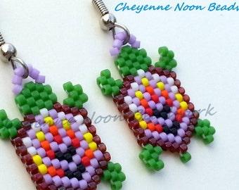 Native American Beaded Earrings - Brick Stitch - Turtles - Columbine Purple - Leaf