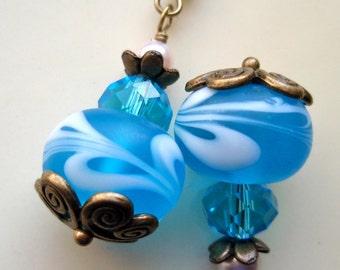Sky Blue Earrings, Blue and White Earrings, Brass and White Earrings, Blue Earrings
