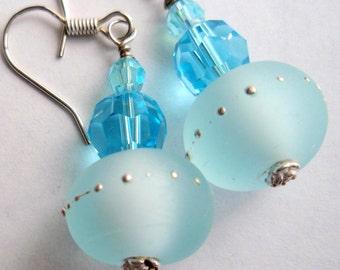 Sterling Silver Aquamarine and Ice Blue Crystal Earrings, Blue Earrings, Aqua Earrings