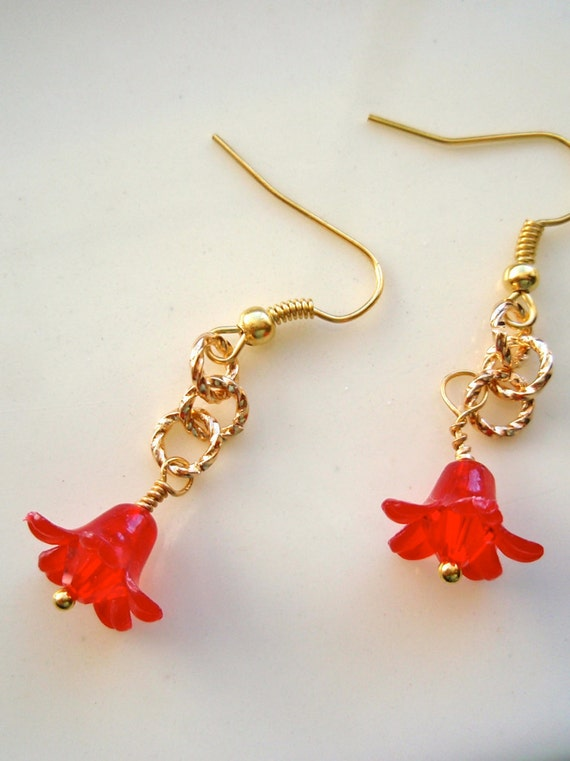 Tiny red flower earrings gold earrings twisted gold for Gemsprouts tiny plant jewelry