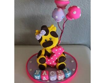 Giraffe Custom Cake Topper for Birthday or Baby Shower WITH Balloons