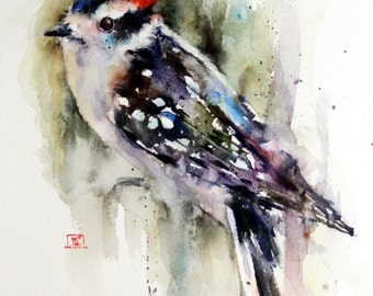 DOWNY WOODPECKER Watercolor Print by Dean Crouser