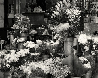 Paris Photography - Black and White Paris Photograph - Paris Flower Market Print - Floral Art - Black and White Print - Travel Photography