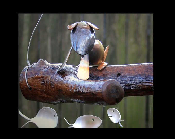 Soup Hound And Silver Spoon Fish Wind Chime - Great Gift For Any Dog Lover, Animal Lover Gift, Four Legged Friend, Dog Yard, Small Dog Toy