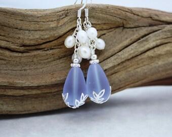 Sea Glass Earrings Seaglass Earrings Wedding Earrings Bridal Earrings Bridesmaid Earring Bridesmaid Jewelry Bridal Jewelry Pearl Earrings 52