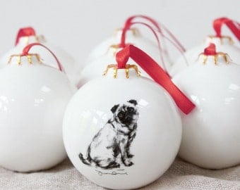 Pug dog Bauble - Christmas decoration - Pug Gift - Present pug lover