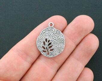 6 Tree Charms Antique  Silver Tone Beautiful Design - SC1584