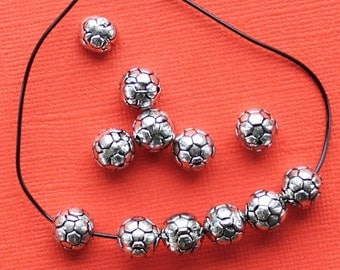 50 Soccer Beads 10mm Acrylic Silver Tone Terrific Value - BD667
