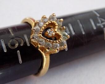 Vintage ring, size 5 & 1/2 ring, crystal heart ring, romantic ring, elegant dinner ring