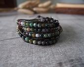 5 Wrap Bracelet Agate Bracelet  Leather Bracelet Leather Wrap Bracelet Beaded Bracelet 10748