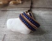 Dark Blue Beaded Wrap Leather Bracelet 2 Wrap Metal Chain Leather Wrap Bracelet  11590I