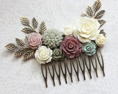 Bridal Hair Comb Dusty Rose Pink Bridesmaids Gift Ivory Cream Sage Green Wedding Floral Collage Comb Hair Accessories Romantic Country Chic