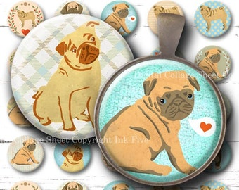 Pugs 1 inch round images. Digital collage sheet. Printable cute dogs. Bottlecaps animals pets for pendants badges magnets tags and decors.