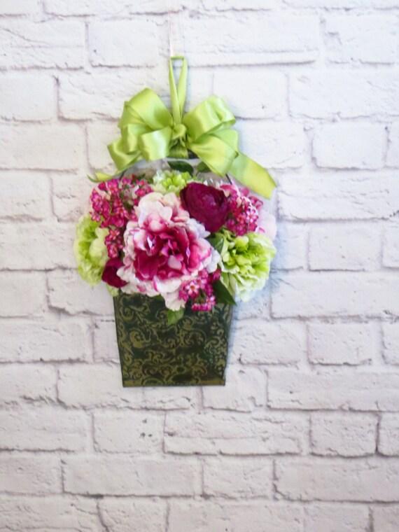 Decorative Wall Pockets Metal : Items similar to floral wall pocket metal
