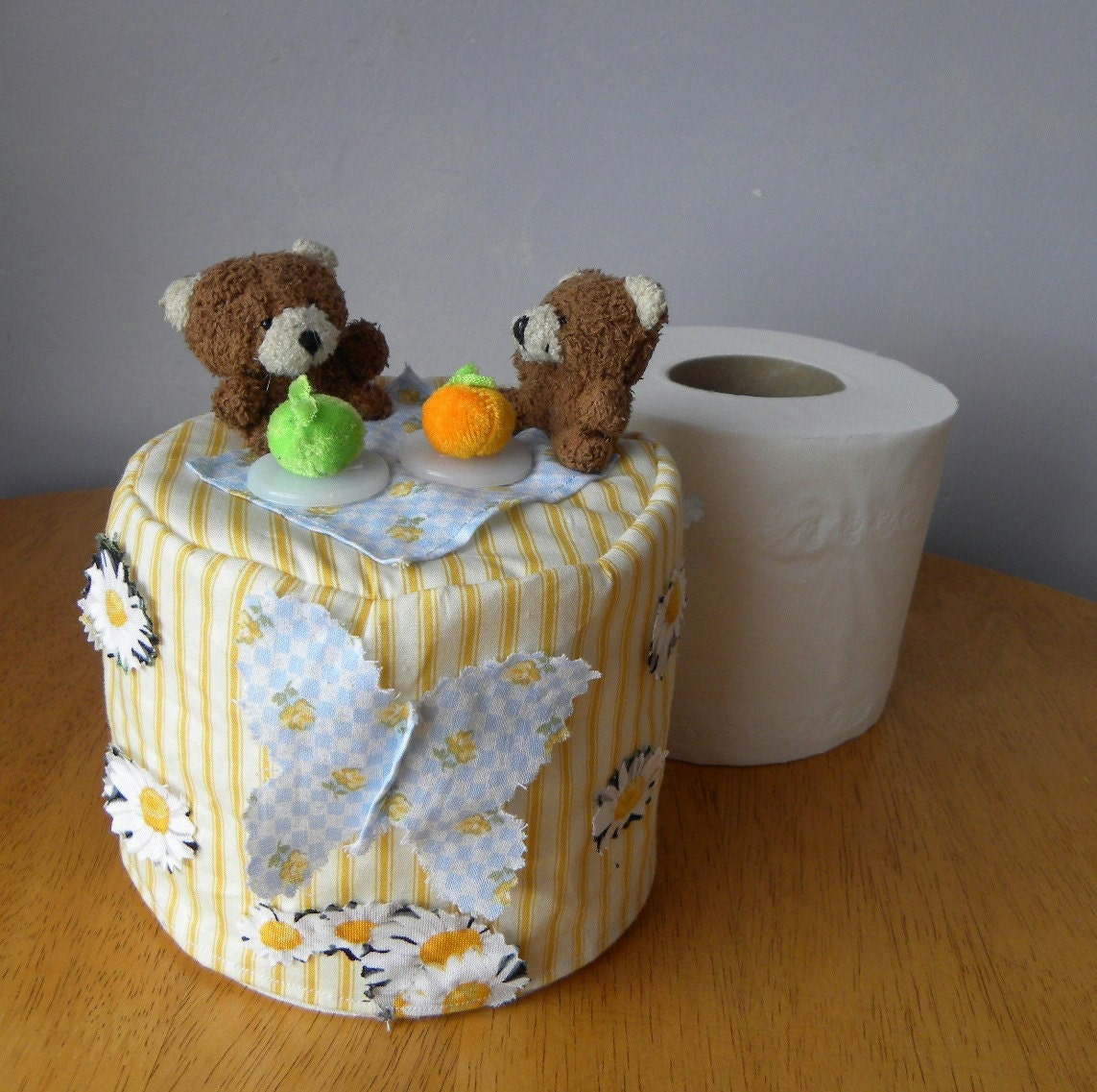 spare toilet paper roll cover bathroom tissue cover yellow