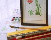 watercolor botanical art print of Calliandra and Leaves, floral art, flower illustration, fern drawing