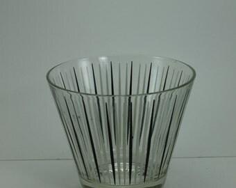 Vintage Mid Century Modern Atomic Ice Bucket Glass Black White Striped Star Burst