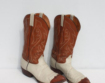 Vintage Cowboy Boots Two Tone Off White Light Honey Brown Leather Snakeskin J. Chisholm 10 D Mens 12 D Womens