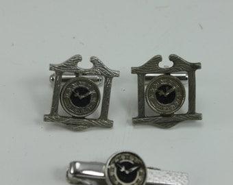 Vintage Cufflink Cuff Link Tie Clip Bar Set Clock Sterling Silver Black Hickock USA
