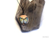 Butterfly pendant, handpainted on wood, wood jewellery, butterfly jewellery, blue butterfly pendant, painted jewellery, painted pendant