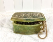 Vintage Incolay Jewelry Box Green Ivory Genuine Stone