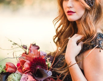 Draped Leaf Headpiece, Rhinestone, Dark, Goth, Gunmetal, Black Victorian Bridal Wedding, Bling, Flower, Leaf, Veil Alternative, Romantic 205