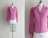 Vintage Blouse . Dusty Pink Shirt . Button Up Shirt . Secretary Blouse