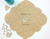 70 pc Custom Wedding Guest Book Puzzle, guestbook alternative, custom wood BOHO puzzle guest book Bella Puzzles™ medallion wedding bohemian