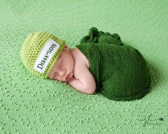 Crochet Baby Personalized Name Cross Stitch Beanie - Newborn to 3 months - Pistachio - MADE TO ORDER