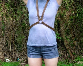 MOONBOUND Body Harness in Tan Leather
