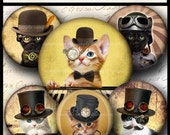 INSTANT DOWNLOAD Steampunk Cat (734) 4x6 and 8.5x11 12mm circles Printable  Digital Collage Sheet glass tiles cabochon earrings images