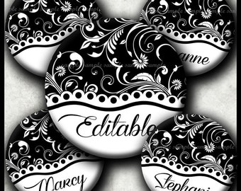 INSTANT DOWNLOAD Editable JPG New Black and White Floral (334) 4x6 1 inch Bottle Cap Images Printable Digital Collage Sheet cabochon images