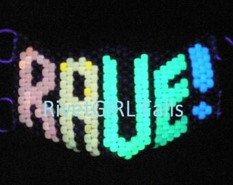 D-Ring UV/Glow-in-the-Dark Rainbow RAVE! Cyber Raver Kandi Mask