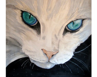 The Cat, Turquoise eyes, White, Original illustration Artist Print Wall Art, Free Shipping in USA.