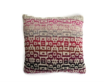 """Summer Pillow , Cushion cover - cream cotton / silk hand knit with vibrant abstract mosaic pattern   - 18"""" x 18"""" zip fastening"""