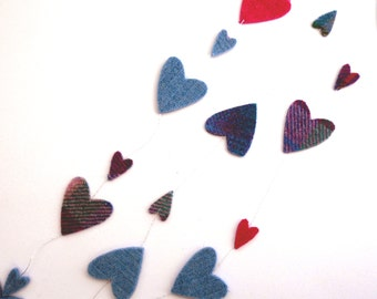 Felt heart banner , valentine garland , harris tweed , recycled wool felt, scottish party bunting , party decor, childs room decor