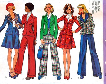 Simplicity 6567 Vintage 70s Junior Teens' Unlined Jacket, Short Skirt and Pants Sewing Pattern - Uncut - Size Small 9/10 - Bust 30.5