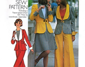 Simplicity 6767 Vintage 70s Misses' Unlined Jacket, Short Skirt and Pants Sewing Pattern - Uncut - Size 10 - Bust 32.5