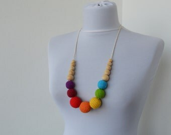 Colorful Cotton Wooden Nursing Necklace - Crochet Necklace for mom and child - Teething Necklace    E201