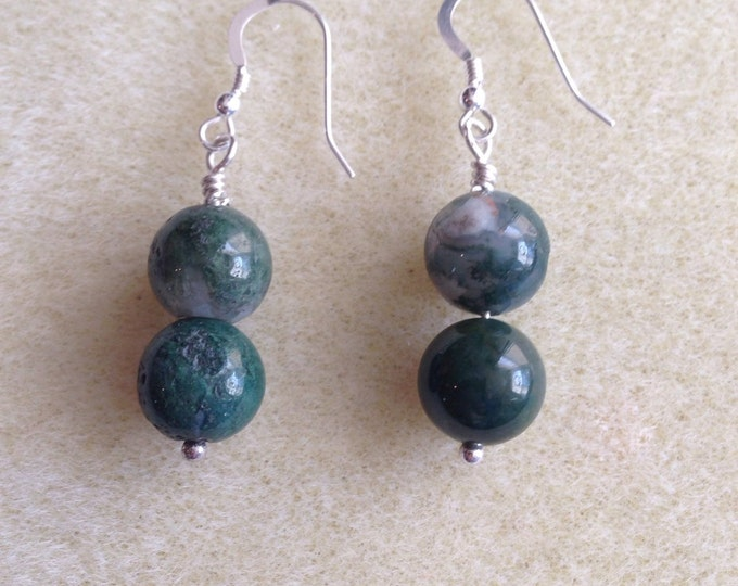 Fancy Jasper Sterling Silver 10mm Round Bead Dangle Drop Earrings