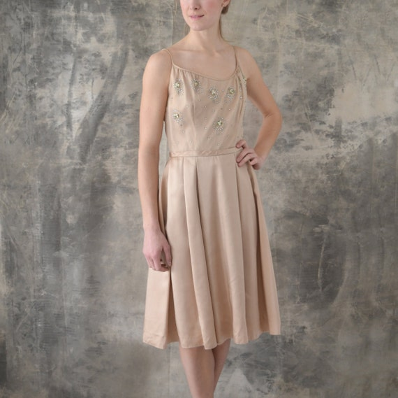 1950s Blush Satin Dress size M